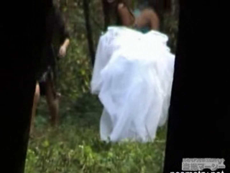 衝撃!ウエデイングドレスを着て野外発射!  盗撮 覗きおまんこ画像 96PICs 14